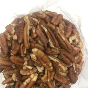raw pecan pieces open