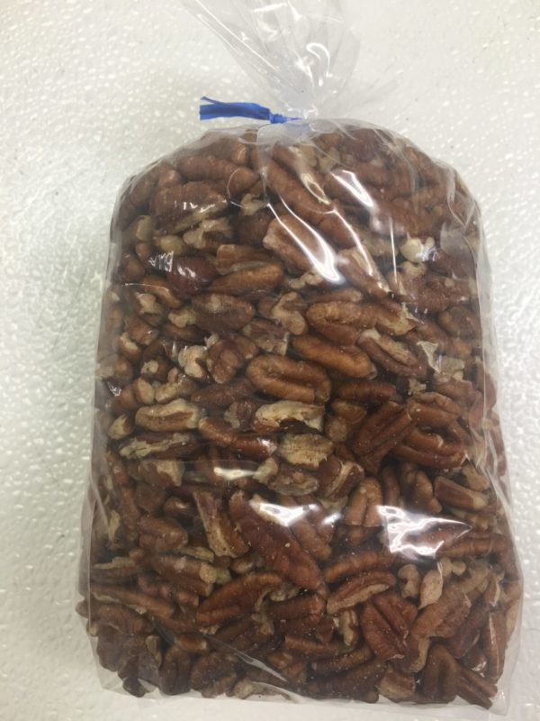 raw pecan pieces in bag
